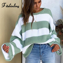 Fitshinling Striped Loose Ladies Sweater Pullover