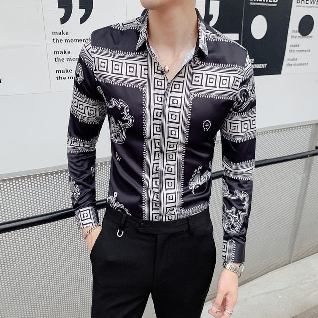 Retro Dragon Print Men Shirt Long Sleeve Shirts Fashion Casual