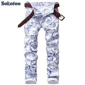 Sokotoo Men's fashion blue and white porcelain pattern print jeans