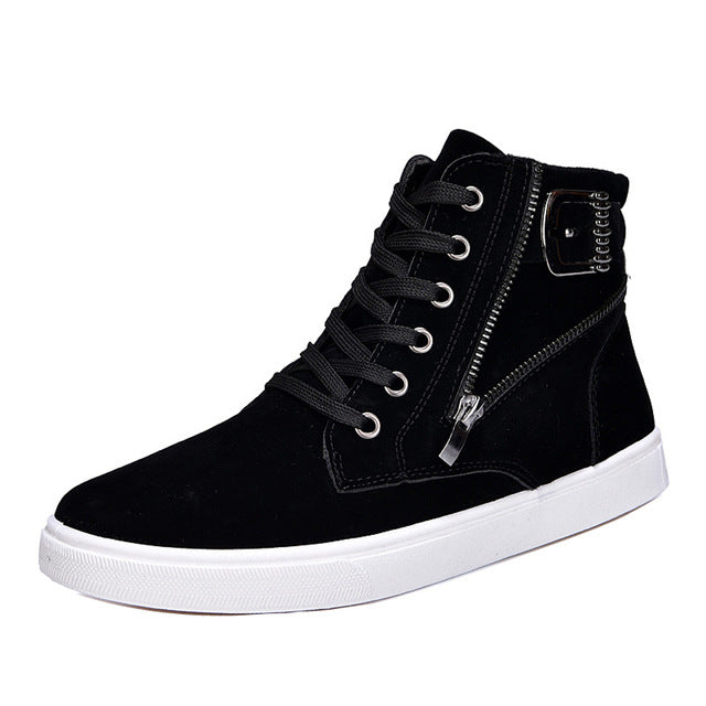 Fashion High Top Round Toe Zip Ankle Shoes