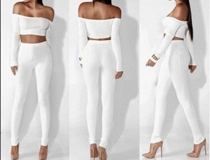 OMILKA Crop Top and Pant Set 2017 Long Sleeve Off the Shoulder