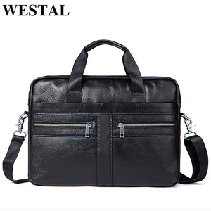 WETSTAL Business Briefcases for lawyer Genuine Leather Messenger Bag
