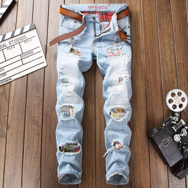 Men Jeans Stretch Destroyed Ripped Design Fashion