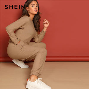 SHEIN Solid Pullover and Slant Pocket Plain Pants Set Spring Twopiece