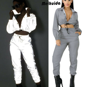 Women Fashion Top Casual Club Sport Jumpsuit 2pcs