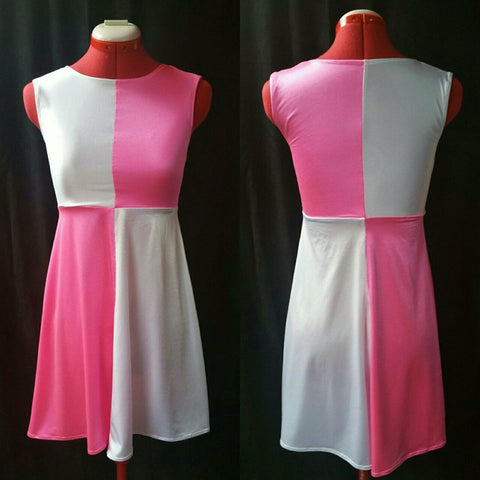 Pink and White Stretch Sleeveless Mod Dress