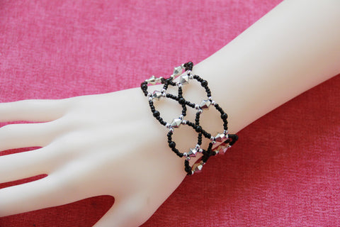 Black and Silver Looped Glass Bead Bracelet