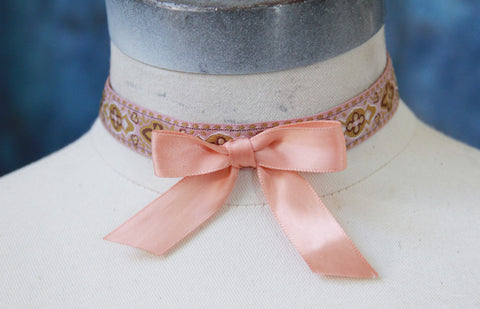 Pink Embroidered Ribbon Choker with Satin Bow