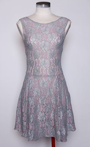 Blue Grey Pink Stretch Lace Dress