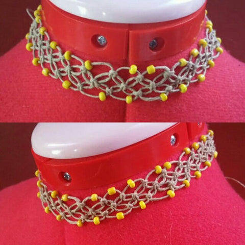 Handmade Hemp Choker With Yellow Glass Beads