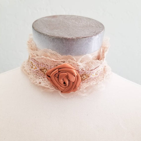 OOAK Adjustable Pink Embroidered Ribbon Lace Choker with Satin Rose
