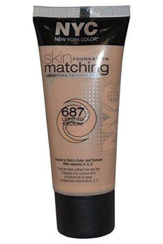 NYC Skin Matching Foundation, 687 Light To Medium CHOOSE YOUR PACK, Foundation, Nyc, makeupdealsdirect-com, Pack of 1, Pack of 1