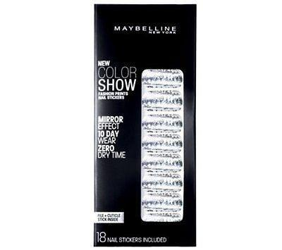 Maybelline Fashion Prints Mirror Effect Nail Stickers - 60 Frayed Foils New, Artificial Nail Tips, Maybelline  - MakeUpDealsDirect.com
