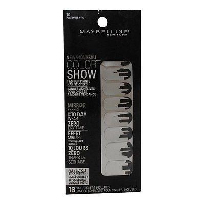 New Maybelline Color Show Fashion Prints Nail Stickers 70 Platinum NYC, Artificial Nail Tips, Maybelline, makeupdealsdirect-com, [variant_title], [option1]