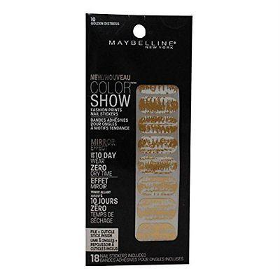 Maybelline  Fashion Prints Nail Stickers -10 Golden Distress (2 Packs), Artificial Nail Tips, Maybelline  - MakeUpDealsDirect.com