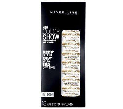 Maybelline Fashion Prints Mirror Effect Nail Stickers - 10 Golden Distress New, Artificial Nail Tips, Maybelline, makeupdealsdirect-com, [variant_title], [option1]