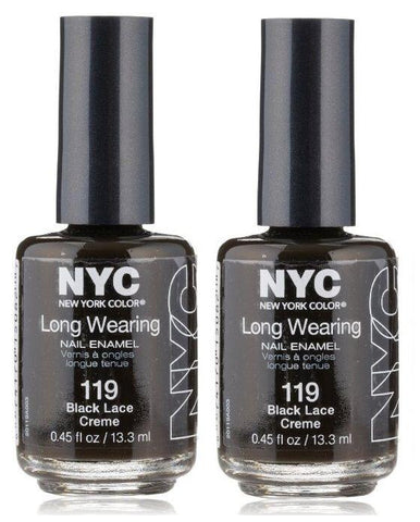 Lot Of 2 - Nyc Long Wearing Nail Polish #119 Black Lace Creme, Nail Polish, NYC, makeupdealsdirect-com, [variant_title], [option1]