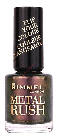 Rimmel Metal Rush Nail Polish, 90 Bronze Princess 8ml, Other Nail Care, Rimmel  - MakeUpDealsDirect.com