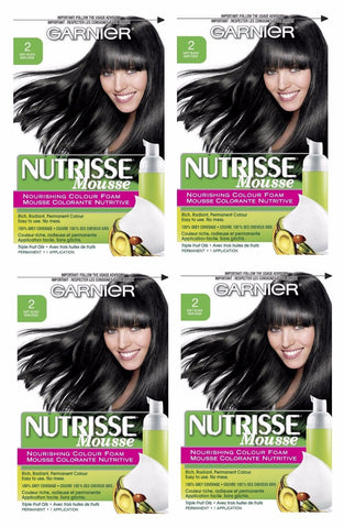 Lot Of 4 - Garnier Nutrisse Nourishing Color Foam 2-soft Black Hair Color, Hair Color, Garnier, makeupdealsdirect-com, [variant_title], [option1]