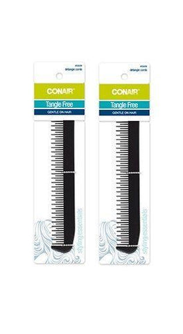 Lot Of 2 - Conair Tangle Free Detangle Comb Styling Essentials Gentle On Hair, Brushes & Combs, Conair  - MakeUpDealsDirect.com