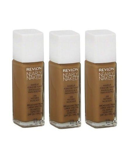 Lot of 3 - New Sealed Revlon Nearly Naked Foundation Makeup 230 Nutmeg 1oz, Foundation, Revlon  - MakeUpDealsDirect.com