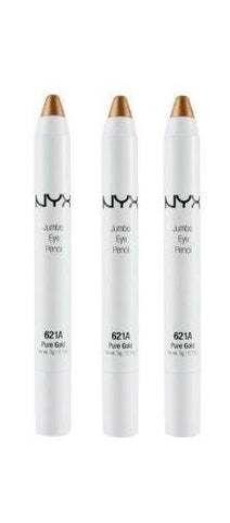 Lot Of 3 - Nyx Cosmetics Fashion Jumbo Eye Pencil  # 621a  Pure Gold, Eyeliner, NYX, makeupdealsdirect-com, [variant_title], [option1]