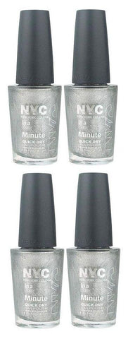 Lot of 4 - Nyc in a New York Color Minute Nail Polish #292 Tribeca Silver, Nail Polish, NYC, makeupdealsdirect-com, [variant_title], [option1]