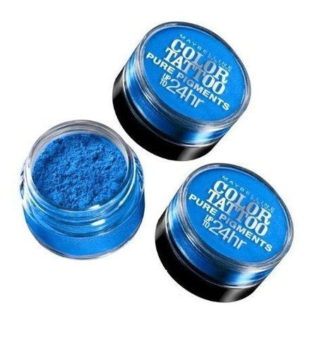 . Lot of 3 - Maybelline Color Tattoo Pure Pigments Eye Shadow #10 Brash Blue, Eye Shadow, Maybelline  - MakeUpDealsDirect.com
