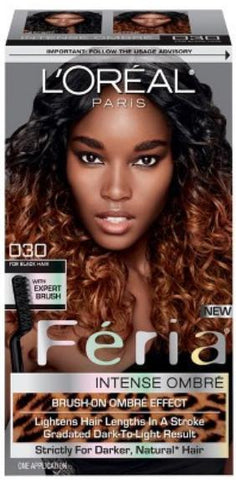L'Oreal Paris Feria Intense Ombre Hair Color, Black O30, Hair Color, Black, makeupdealsdirect-com, Pack of 1, Pack of 1