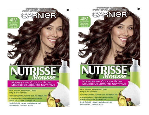 LOT OF 2 - Garnier Nutrisse 41M Iced Mahogany Brown Nourishing Color Foam, Hair Color, Garnier, makeupdealsdirect-com, [variant_title], [option1]