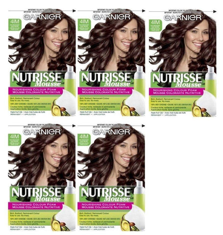 Lot of 5 - Garnier Nutrisse 41m Iced Mahogany Brown Nourishing Color Foam 4im, Hair Color, Garnier, makeupdealsdirect-com, [variant_title], [option1]