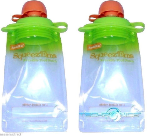 . 2 PACK BOOGINHEAD SQUEEZEMS TRAVEL EASY FILL SAFE BPA FREE REUSABLE FOOD POUCHES, Breast Milk Storage, BOOGINHEAD  - MakeUpDealsDirect.com