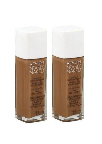 LOT OF 2 - NEW REVLON 220 NATURAL TAN NEARLY NAKED FOUNDATION LIQUID, Foundation, Revlon, makeupdealsdirect-com, [variant_title], [option1]