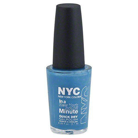 Nyc New York Collection In A Minute Quick Dry Nail Polish Water Street Blue 296, Nail Polish, NYC, makeupdealsdirect-com, [variant_title], [option1]