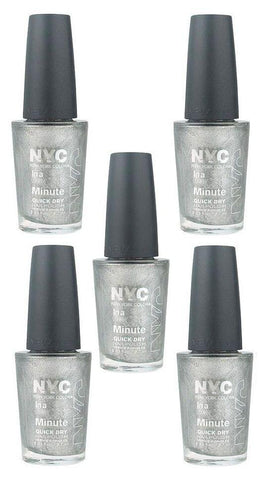 Lot Of 5 - Nyc In A New York Color Minute Nail Polish #292 Tribeca Silver, Nail Polish, NYC, makeupdealsdirect-com, [variant_title], [option1]