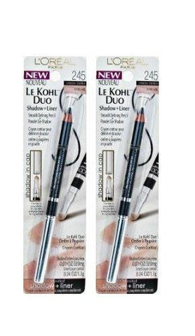 Lot Of 2 -L'Oreal Le Kohl Duo Shadow And Liner, Charcoal/honey, 0.05 Ounce, Blush, L'Oreal  - MakeUpDealsDirect.com