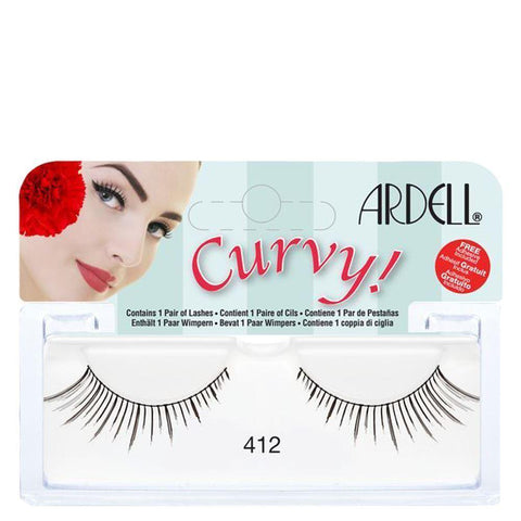 Ardell Curvy Lashes 412 Black, False Eyelashes & Adhesives, Ardell  - MakeUpDealsDirect.com