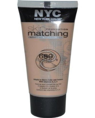 NYC Color Skin Matching Foundation with Adapting Technology 689 Medium, Foundation, NYC, makeupdealsdirect-com, [variant_title], [option1]