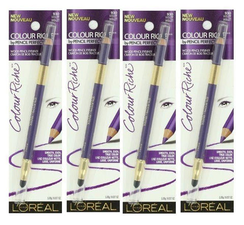 Lot of 4 - L'oreal Colour Riche Wood Pencil Eyeliner #930 Violet, Eyeliner, L'OREAL  - MakeUpDealsDirect.com