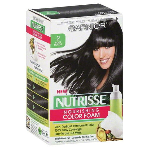 GARNIER NUTRISSE #2 SOFT BLACK HAIR COLOR  NOURISHING COLOR FOAM, Hair Color, Garnier  - MakeUpDealsDirect.com