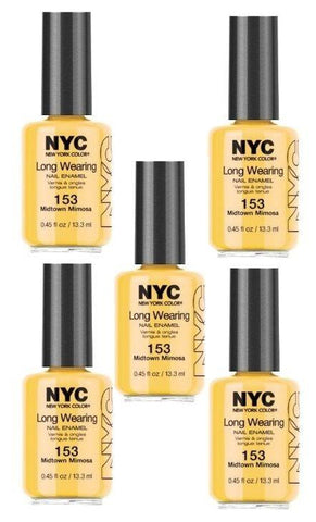 . Lot Of 5 - Nyc Long Wearing Nail Enamel - Midtown Mimosa, Nail Polish, NYC  - MakeUpDealsDirect.com