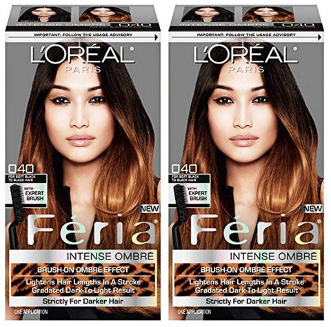 L'Oreal Paris Feria Intense Ombre Hair Color, Soft Black To Black O40, Hair Color, L'Oreal, makeupdealsdirect-com, Pack of 2, Pack of 2