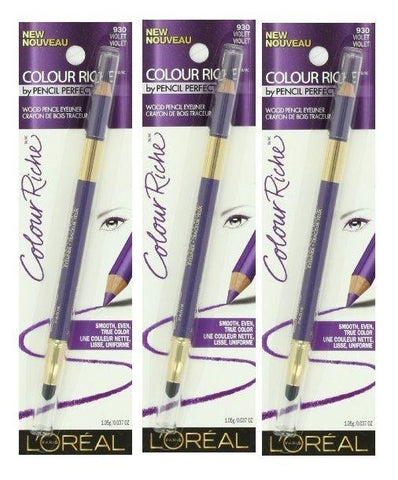 Lot of 3 - L'oreal Colour Riche Wood Pencil Eyeliner #930 Violet, Eyeliner, L'OREAL  - MakeUpDealsDirect.com