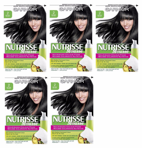 Lot of 5 - Garnier Nutrisse Nourishing Color Foam 2 Soft Black Hair Color, Hair Color, Garnier, makeupdealsdirect-com, [variant_title], [option1]