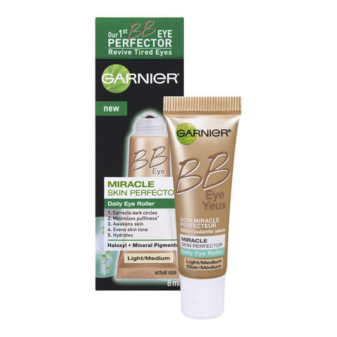 Garnier Skin BB Eye Miracle Skin Perfector Eye Roller Light/Medium 0.27 Fl Oz, BB, CC & Alphabet Creams, Light/Medium, makeupdealsdirect-com, PACK OF 1, PACK OF 1
