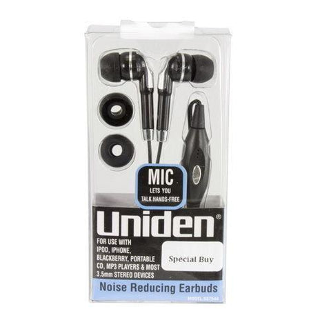 Uniden Noise Reducing Earbuds With Microphone, Headsets, uniden, makeupdealsdirect-com, [variant_title], [option1]