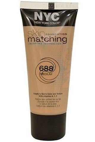 NYC Color Skin Matching Foundation with Adapting Technology 688 Medium, Foundation, NYC, makeupdealsdirect-com, [variant_title], [option1]