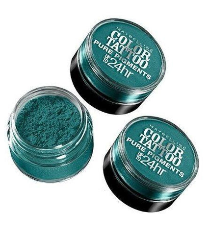 Lot Of 3 Maybelline Color Tattoo Pure Pigments Eye Shadow #5 Never Fade Jade, Eye Shadow, Maybelline, makeupdealsdirect-com, [variant_title], [option1]