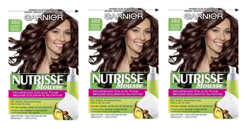 Lot of 3 - Garnier Nutrisse 41m Iced Mahogany Brown Nourishing Color Foam 4im, Hair Color, Garnier  - MakeUpDealsDirect.com