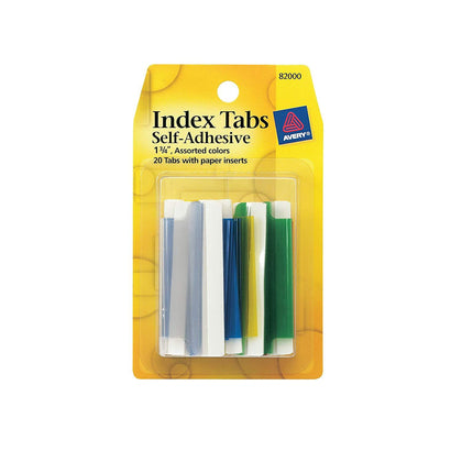 Avery Index Tabs With Writable Inserts, 1.75 Inches, 20 Assorted Tabs (82001), Other Office Supplies, Avery, makeupdealsdirect-com, [variant_title], [option1]